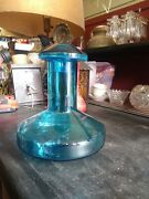 Mid Century Modern 8.5 Inch Tall Blue Glass Decanter C1970s.