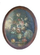 Antique Baroque Bouquet Painting In An Oval Frame