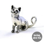 Siamese Cat Sitting Figurines Decorating Miniature Solid Sterling Silver 925
