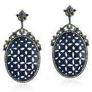 Carved Sapphire Dangle Earrings Gold 925 Sterling Silver Diamond Jewelry Gift