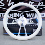 14 Billet Steering Wheel For Chevy Gm Ford Dodge - White Wrap And Horn Button