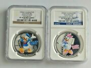 2014 Niue Silver 2 Disney Donald And Daisy Duck Colorized Ngc Pf70 Ultra Cameo