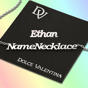 Personalised Any Name Necklace Chain Ethan Nameplate Pendant Stainless Steel