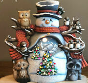 Ceramic Bisque Hand-painted Jack The Snowman With Woodland Friends Night Time