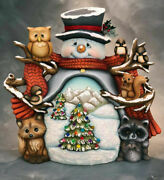 Ceramic Bisque Hand-painted Jack The Snowman With Woodland Friends Daytime