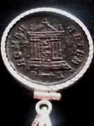 Probus Temple/roma Ae2 Ancient Roman Coin Pendant Silver Sterling Bezel Necklace