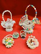 Lot-6 Vintage Mid Century Safety Pin Baskets Beads Beaded Tramp Art Hand Crafted