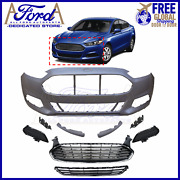 Ford Fusion 2013-2016 Front Bumper Cover Kit Complete New Ds7z-17d957 Ds7z-8200