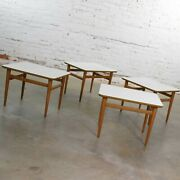 Set Of 4 Mid Century Modern Birch Side Tables With White Laminate Tops And Tapered