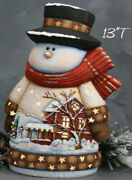 Ceramic Bisque Hand-painted Med Whittled Snowman With House Scene