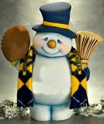 Ceramic Bisque Hand-painted Snowman With Football Or Baseball