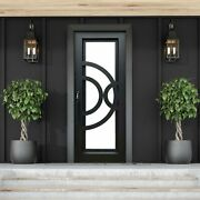 Aleko Iron Curved-arc Design Single Door With Frame 96 X 40 Inches Matte Black