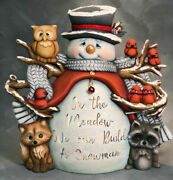 Ceramic Bisque Hand-painted Jack The Snowman And Woodland Friends