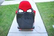 One Black Carbon Fiber Cuga Style Red Cloth Reclinable Racing Seat With Slider