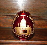 Vintage Faberge Russian Rubi Glass Egg Paperweight