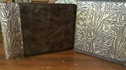 Western Leather Office Set- 7 Ring Checkbook And 3 Ring Binder Chocolate And Gold