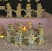 Ceramic Bisque Hand-painted Set Of 8 Hand In Hand Snowman