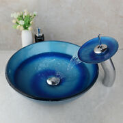 Us Glass Wash Basin Vanity Sink Bowl+ Chrome Waterfall Faucet Set And Drain