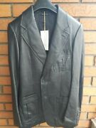 Menand039s Leather Jacket Coat Blazer Black Suede Patches Italy 38r 48it