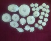 1950and039s Fine China Of Japan Crestwood Pattern Silver Wheat 94 Pcs Dinnerware Set