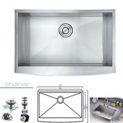 Country Farmhouse 304 Stainless Steel Single Bowl Apron Sink 16 Gauge 27x20