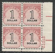 U.s. Postage Due Stamp Scott J100 - 1 Issue Of 1959 - Plate Block Of 4 Mnh - 2