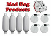 4 Pack White 6.5 X 23 Inflatable Boat Fender Buoys And 4 White Lines - Made In Usa