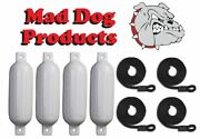 4 Pack White 6.5 X 23 Inflatable Boat Fender Buoys And 4 Black Lines - Made In Usa