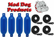 4 Pack Blue 6.5 X 23 Ribbed Inflatable Boat Fender Buoys And 4 Lines - Made In Usa