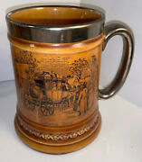 Vintage Lord Nelson Ware Coaching Days Amber Transferware England Tankard 6andrdquo