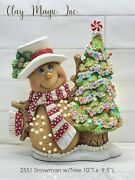 Ceramic Bisque Hand-painted Snowman With Tree And Base