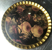 Vintage Sezzatini Firenze Italy Hand Painted Roses On Wood Gold Leaf Round Tray