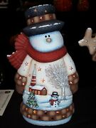 Ceramic Bisque Hand-painted Large Church Scene Snowman