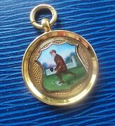 9ct Gold Enamel Watch Fob Medal / Pendant - Bowling Bowls H/m 1927 Not Engraved
