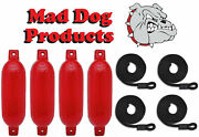 4 Red 6.5 X 23 Ribbed Inflatable Boat Fender Buoys And 4 Lines - Made In Usa