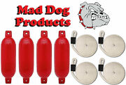 4 Red 6.5 X 23 Inflatable Boat Fender Buoys And 4 White Lines - Made In Usa