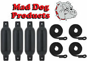 4 Black 6.5 X 23 Inflatable Boat Fender Buoys And 4 Black Lines - Made In Usa
