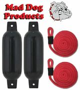 2 Black 6.5 X 23 Inflatable Boat Fender Buoys And 2 Red Lines -made In Usa