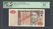Portugal 10000 Escudos Nd1996-98 P191s Specimen Tdlr N1 Uncirculated
