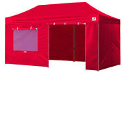 Heavy Duty 10x20 Red Ez Pop Up Marquee Canopy Outdoor Party Tent W/4 Side Walls