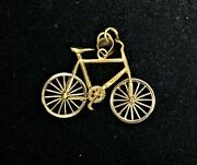 14k Gold Bicycle Necklace Pendant With Spinning Wheels