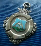 Sterling Silver And Enamel Cricket Fob Medal H/m 1946 Birmingham Fattorini And Sons