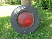 Authentic Railroad Crossing Large Safety Signal Light With Black Back Collar