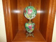 Antique Gone With The Wind Fluid Oil Lamp Hand Painted In Original Condition