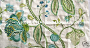 Kb24 Manuel Canovas Dana Woven/embroidered Floral Fabric 5yards Turquoise