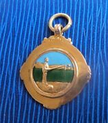 Attractive 9ct Rose Gold And Enamel Medal Watch Fob - Fishing Or Angling H/m 1936