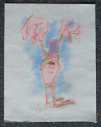 Michigan J Frog Dick Duerrstein Original Colored Drawing On Paper