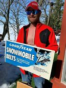 Vintage Goodyear Snowmobile Belts Sign Metal Gas Oil Tires Outboard Mint In Box