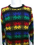 L. Simsbury Multicolor Snowflade Colorblock Mens Acrylic Sweater Size Large