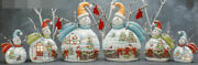 Ceramic Bisque Hand-painted 6 Snowman With Christmas Scene
